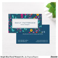 81 best business cards for women images on pinterest lipsense bright blue floral womens professional business card colourmoves