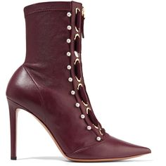 Altuzarra Altuzarra - Elliot Embellished Leather Ankle Boots -... ($1,320) ❤ liked on Polyvore featuring shoes, boots, ankle booties, laced up ankle boots, leather ankle boots, burgundy bootie, lace up high heel booties and leather lace up bootie