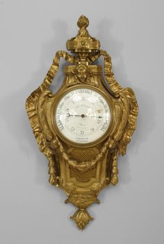 French Louis XVI clock/mechanical barometer/thermometer bronze