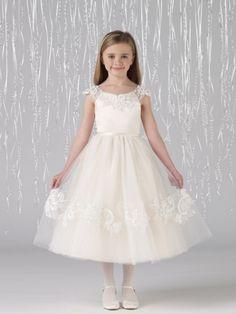 Sin gastos de envío! Por encargo de un- línea de niña vestido de flores joya ribboin apliques de tul té longitud...