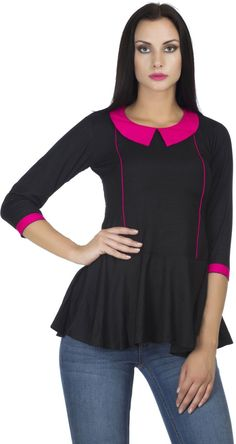 PrettyPataka Party, Lounge Wear, Casual 3/4 Sleeve Solid Women's Black Top