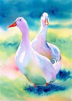 Amazing colors in this watercolor painting of ducks, Linda Nadel Watercolor Bird, Watercolor Animals, Watercolour Painting, Painting & Drawing, Watercolors, Fuchs Illustration, Watercolor Techniques, Animal Paintings, Bird Art