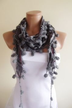 multicolor scarf with lace new design shawl by smilingpoet on Etsy, $12.90