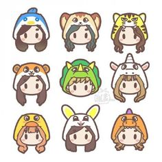 Twice momo chae tzuyu mina nayeon Dahyun Cute Animal Drawings Kawaii, Kawaii Drawings, Cute Drawings, Chibi, Twice Album, Pop Stickers, Twice Fanart, Chaeyoung Twice, Kpop Drawings
