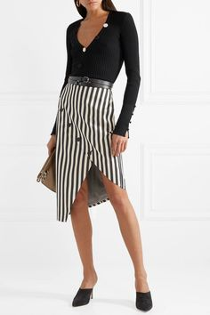 Altuzarra | Paul Bert button-embellished striped stretch cotton-twill skirt | NET-A-PORTER.COM