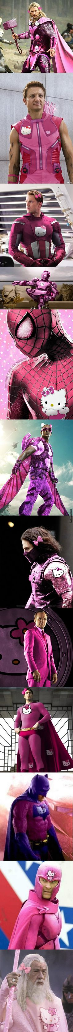 I'm not a fan of Hello Kitty. Lol Photoshop Experts Hello Kitty-fy Masculine Superheroes With Sparkly Pink Costumes Funny Pins, Funny Memes, Hilarious, Jokes, Pink Costume, Marvel, Humor Grafico, Red Hood, Nightwing