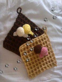 Cogedores de cocina gofres con helado (para ver más ir al blog) #crochet #ganchillo #lana #diy