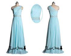 blue one shoulder prom dresses long bridesmaid by Fashioninside, $129.00