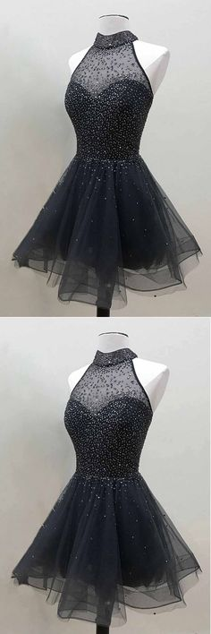 Sparkly Beaded Black Tulle Short Prom Dress, Homecoming Dress #promdress #graduationdress #prom #dress #promdresses