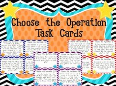 CHOOSE THE OPERATION Word Problem Task Cards **STAR Themed Add, subtract, multiply, and divide!  Also includes answers if you want to have students solve! $