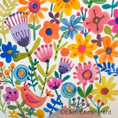 A fun painting of funky flowers perfect for an all over pattern