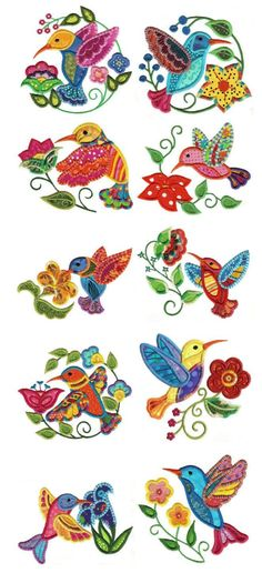 Embroidery | Designs by JuJu | Jacobean Hummingbirds Applique - Picmia