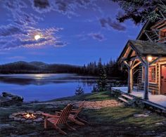 The Perfect Getaway by Darrell Bush Beautiful Gif, Beautiful Paintings, Beautiful Pictures, Beautiful Places, The Perfect Getaway, Thomas Kinkade, Country Art, Country Life, Pictures To Paint