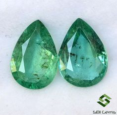 1.58 CTS Certified Natural Emerald Pear Cut Pair 8.50x5.50 mm Lustrous Calibrated Loose Gemstones Semi Precious Gemstones, Loose Gemstones, India Country, Jaipur India, Natural Emerald, Jewelry Sets, Pear, Nature, Naturaleza