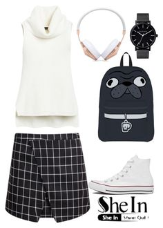 """""""Contest Shein - Black Plaid Bodycon Skirt"""" by s-e-r ❤ liked on Polyvore featuring White House Black Market, Converse, Frends and The Horse"""