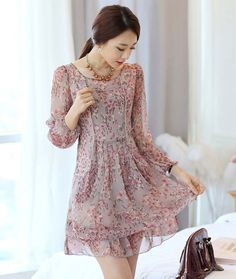 Korean Fashion Floral Long Sleeve High Waist Chiffon XXL Dress Summer Beach WW