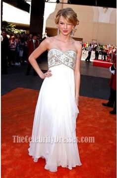 Taylor Swift White Strapless Beaded Evening Gown