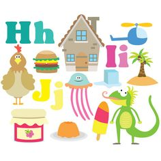 Alphabet Clipart - HIJ - Clipart & Vector Set - Instant Download - Personal and Commercial Use