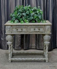 Guildmaster heavily distressed grey and cream console with barley twist console table with 2 drawers.