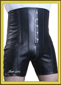 Genuine Steel spiral Boned Corset made for serious tight lacing. Strong Cotton Jean use as a lining in this corset. Shiny Silver rust free Eyelets use in this corset. Strong polyester laces use at the back of corset for tighter lacing. Leather Corset, Leather Shorts, Real Leather, Leather Men, Black Leather, Leather Jacket, Lace Tights, High Waisted Shorts, Pattern Fashion