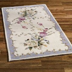 rug with roses and lavender