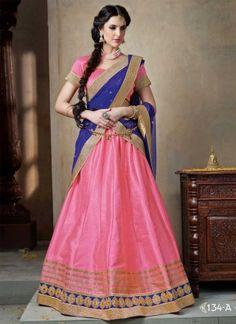 Hot Pink Georgette With Blue Designer Patch Border Work  Lehenga Choli http://www.angelnx.com/Lehenga-Choli/Designer-Lehenga-Choli