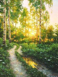 Watercolor Trees, Watercolor Landscape, Landscape Art, Landscape Paintings, Watercolor Paintings, Painting Abstract, Acrylic Paintings, Oil Paintings, Nature Paintings