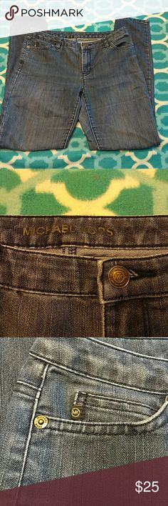 """Michael Kors Skinny Jeans Light wash skinny jeans in excellent condition.  NOTE: please see broken """"K"""" on rear pocket in fourth picture. Michael Kors Jeans Skinny"""