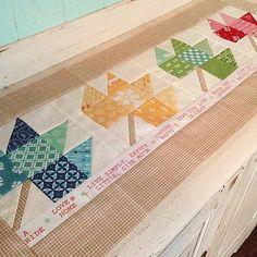 "table runner made by @emilyannskloset - Modern Minis fabric and my 6"" Scrappy Maple Leaf block from Farm Girl Vintage:)  #beeinmybonnet #farmgirlvintage #scrappymapleleafblock #modernminis #modernminisfabric #iloverileyblake"