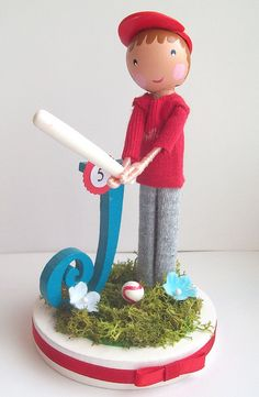 Baseball birthday cake topper by Tiny Blossoms, via Flickr
