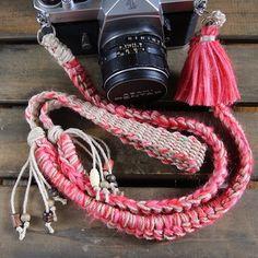 手紡ぎモヘア&麻紐ヘンプカメラストラップ-レッド(ベルト)
