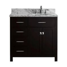 Virtu USA, Caroline Parkway 36 in. Vanity in Espresso with Marble Vanity Top in Italian Carrara, MS-2136L-WMRO-ES-PRST at The Home Depot - Mobile