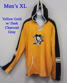 Pittsburgh Penguins Hoodie Mens XL Old Time Hockey Gold Gray NEW NWT  Embroidered 8a46efa96