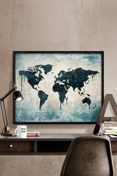 World map Print Poster Watercolor World map by iPrintPoster