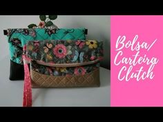 Bolsa/ Carteira Clutch - YouTube Bag Patterns To Sew, Sewing Patterns Free, Pouch, Wallet, Fabric Bags, Clutch Purse, Sewing Hacks, Bag Making, Diaper Bag