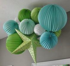 Green, blue, and white paper lanterns/stars. Koyal Wholesale Weddings.