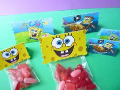 Spongebob Party Favor Bags on Etsy, $6.95 (or I can make them myself)
