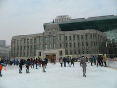 city hall ice skating rink in Seoul in Winter