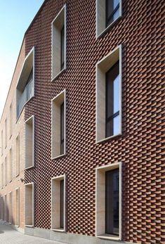 Residential complex on Leo Tolstoy street. Corner … – Residential complex on Leo Tolstoy street. Brick Cladding, Exterior Cladding, Brickwork, Design Exterior, Brick Design, Facade Design, Brick Architecture, Architecture Details, Pavilion Architecture