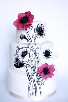 anemone painted cake - Cake by fantasticake by mihyun Gorgeous Cakes, Pretty Cakes, Amazing Cakes, Cupcakes, Cupcake Cakes, Anemone Wedding, Hand Painted Cakes, Modern Cakes, Wedding Cake Inspiration