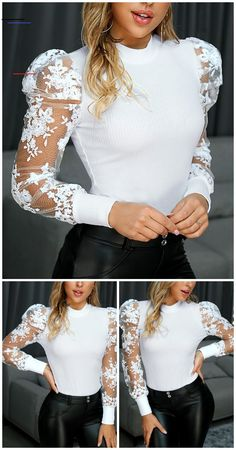 Chic Me: Women's Fashion Online Shopping Look Fashion, Trendy Fashion, Stylish Tops, Womens Fashion Online, Lace Tops, Blouse Designs, Stylish Outfits, Blouses For Women, Fashion Dresses