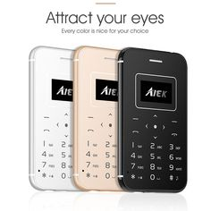 AIEK X8 ultra slim credit card phone with torch pocket mobile supper mini phone simply calculator cell phone free camera BT 3.0 #Affiliate