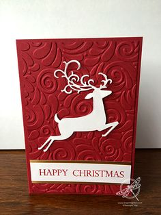 Today's project is using embossing folders and the Detailed Deer dies to make a really quick Christmas card. Today's project is using embossing folders and the Detailed Deer dies to make a really quick Christmas card. Button Christmas Cards, Christmas Cards Handmade Kids, Painted Christmas Cards, Christmas Cards 2018, Simple Christmas Cards, Family Christmas Cards, Homemade Christmas Cards, Merry Christmas Card, Christmas Deer