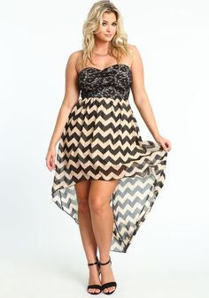 Plus Size Chevron and Lace Bustier Dress, TAUPE, large