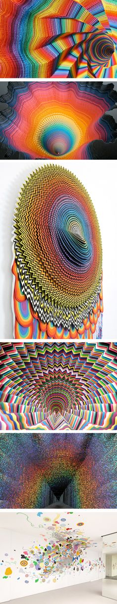 Jen Stark – Paper Sculptures and Drawings