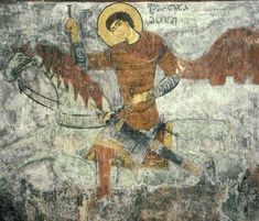 St. George -- a fresco from Matskhvarishi Church in Svaneti