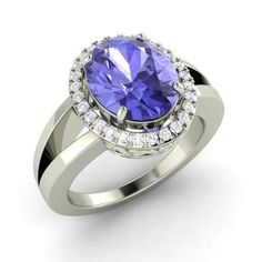 Oval-Cut Tanzanite Engagement Ring in 14k White Gold with SI Diamond