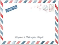 Signature White Textured Thank You Cards Air Mail - Front : Red Lantern    thanks
