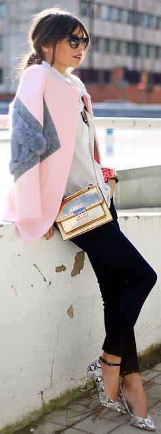 Sheinside Pink Contrast Fur Coat by Seams For a Desire http://pinterest.com/superbycarolina/