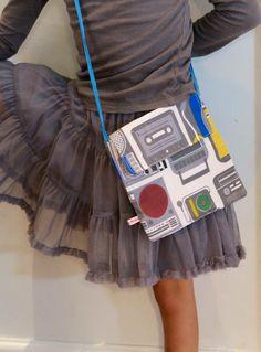 Girls Retro Music fabric little bag